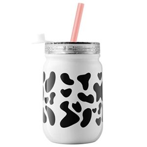 ZLINS Cup with Straw and LidIced Coffee Travel MugStainless Steel Drinking TumblerInsulated Reusable Metal CupHot Cold Mason Jarfor Smoothie MilkshakeCocktails14OZ Cow Print 0